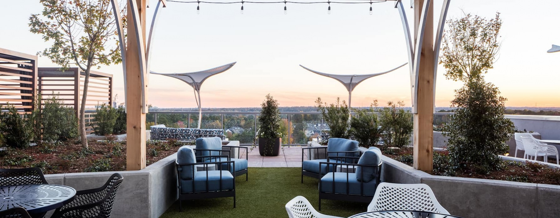 rooftop outdoor lounge area with great views and spacious seating