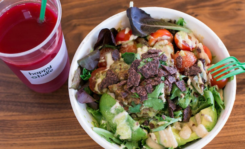 a smoothie and salad combo from Happy+Hale
