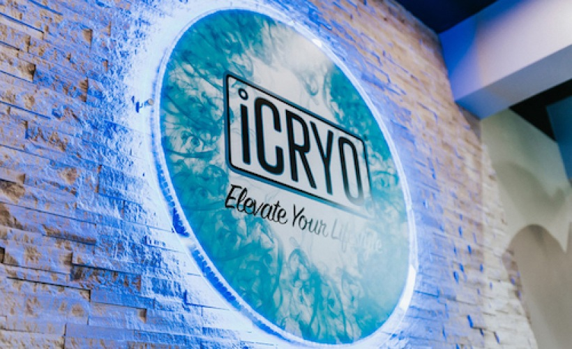 image of iCRYO's sign on a brick wall